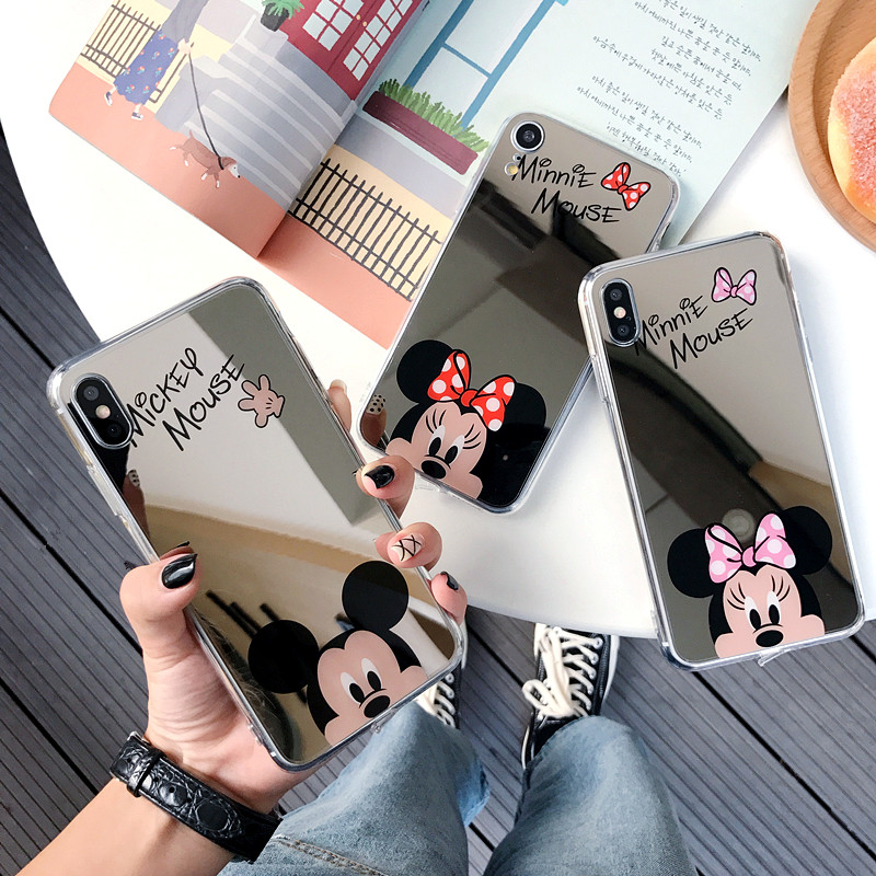 Cute cartoon Mirror case for Apple iPhone 6 6s 8 7 Plus case 5 5s Mickey minnie cases for iPhone X XS XR 11 Pro Max Cover Coque