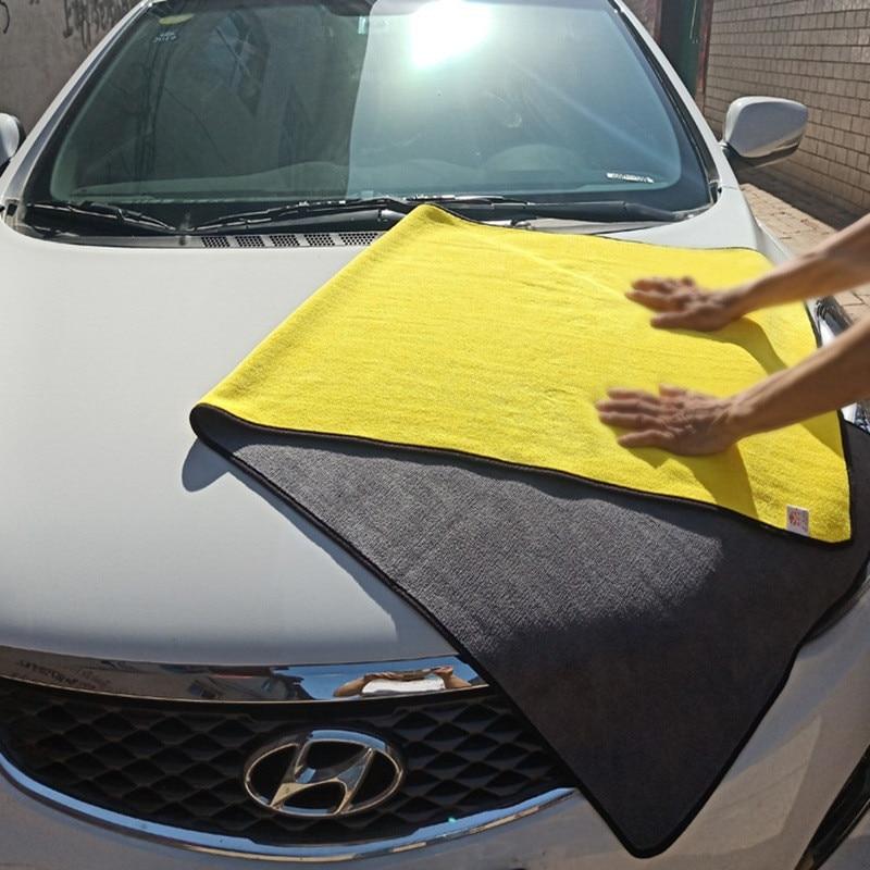 Grande microfibra toalha de lavagem do carro auto toalha de limpeza pano de secagem hemming cuidado do carro pano detalhando para a janela da porta