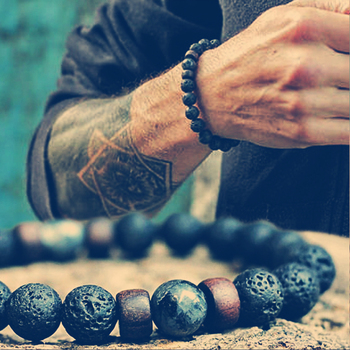 Fashion Lava Stone Bracelet Men Natural Moonstone Bead Chakra Bracelet Male Charm Diffuser Bracelets Heren Armband Jewelry Gift 1
