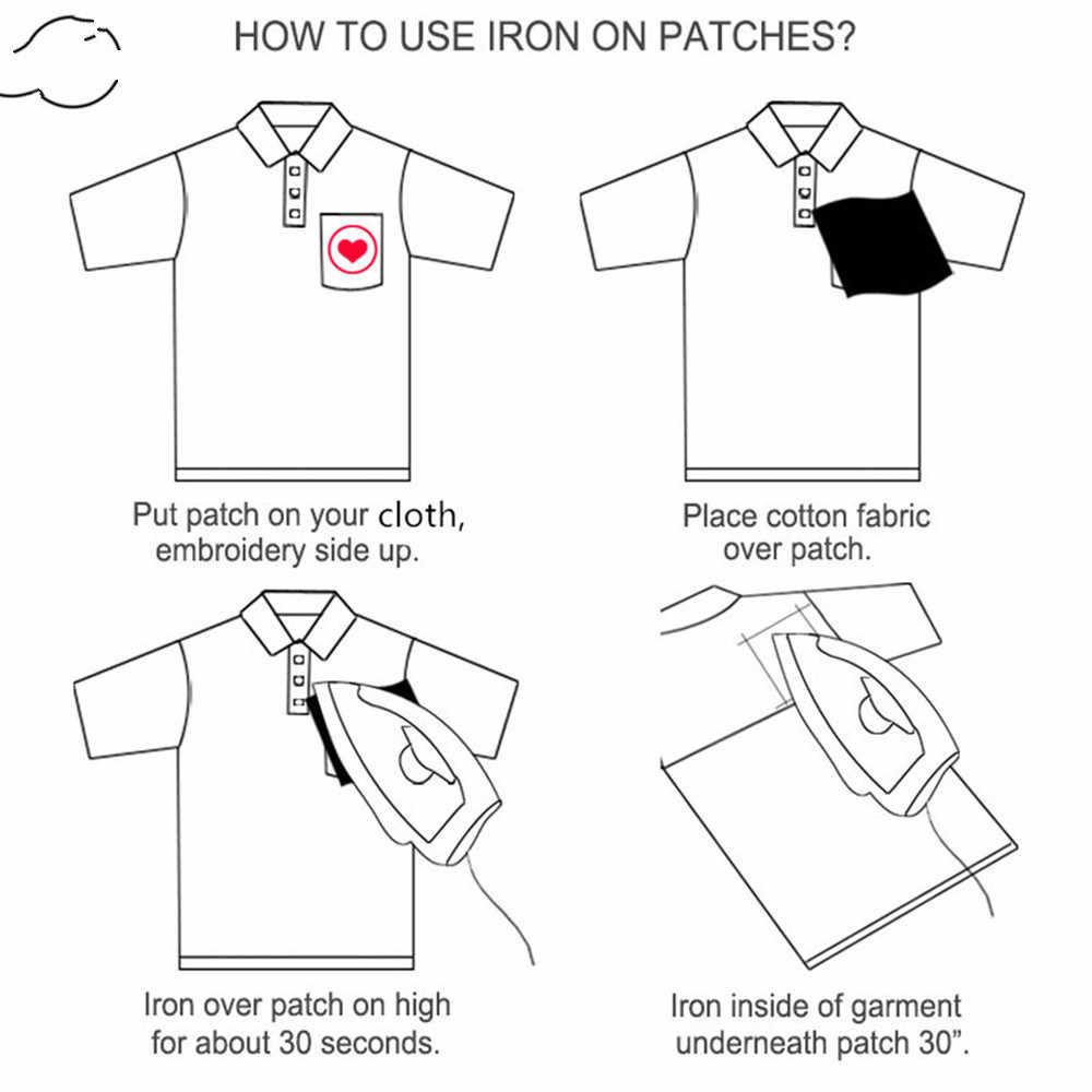1 PC Vintage Occhi Pesca Ricamo Toppe e Stemmi per T-Shirt Ferro sul Strisce Soldato Grave Appliques Adesivi Abbigliamento Distintivi e Simboli