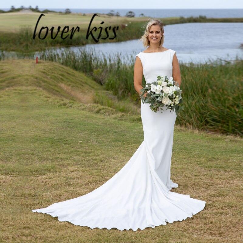 Lover Kiss Vestido De Noiva Elegant Boat Neck Mermaid Wedding Dress Low V Cut Summer Fall Garden Beach Bridal Gown mariage robe