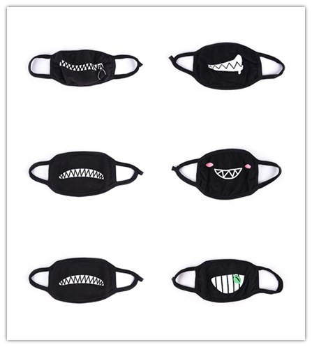 Cartoon Funny Teeth Letter Mask Unisex Black Cotton Half Mouth Mask Anti-bacterial Dust Winter Warm Cute Face Masks 32 Style
