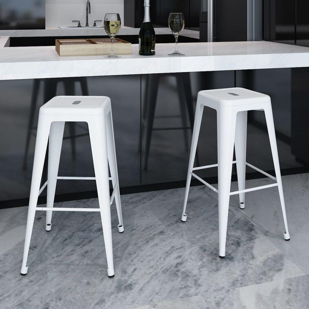 VidaXL Bar Stools 2 Pcs White Steel