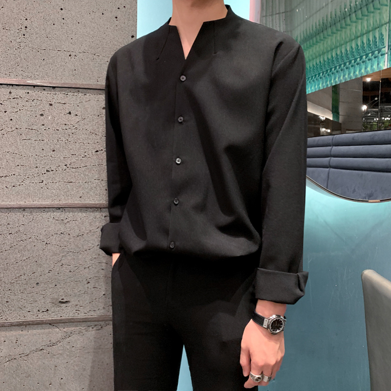 IEFB /men's wear 2020 autumn  casual stand collar solid color shirt for male Personality Trend Handsome Long Sleeve Tops 9Y899 3