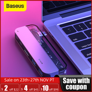 Image 1 - Baseus conector USB C a Multi HDMI, USB 3,0, adaptador para MacBook, accesorios, Pro Thunderbolt 3, lector de tarjetas SD, tipo C
