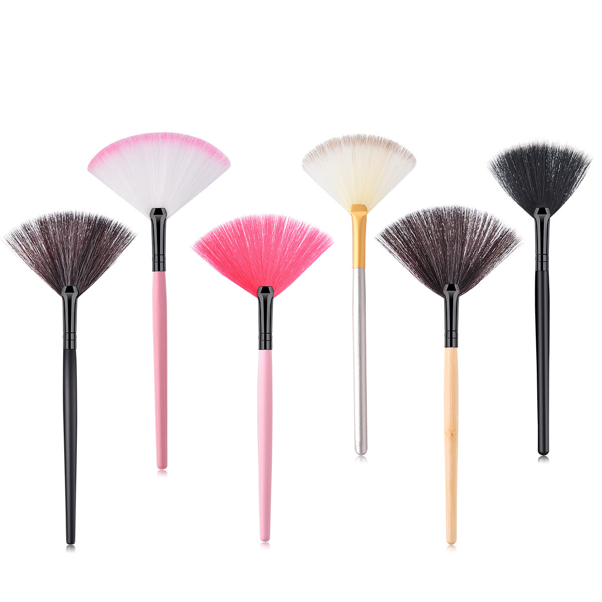 Fashion Professional Cosmetic Tools Accessories Fan Shape Makeup Brush Highlighter Face Powder Brush For Face Make Up Maquiagem