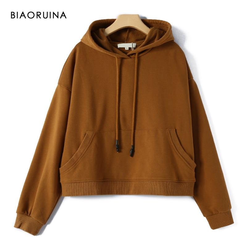 BIAORUINA Women's Solid Basic Drawstring Hooded Sweatshirt Female Loose Casual All-match Velvet Liner Hoodies Pullovers