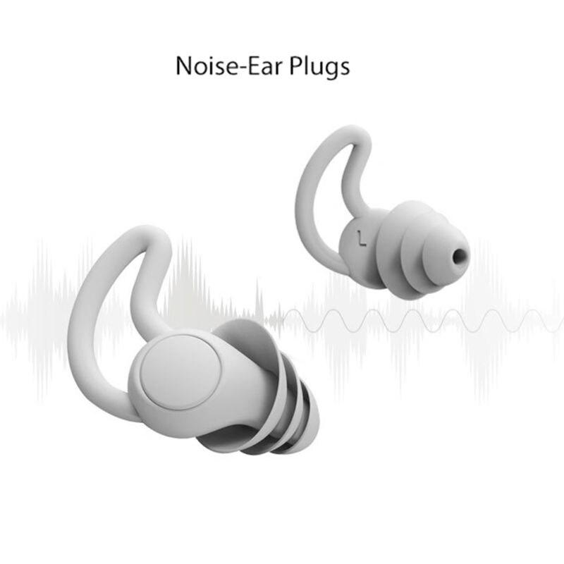 Tapones de silicona blanda para los oídos, 2/3 capas, cónicos, para dormir, auriculares con reducción de ruido, aislamiento acústico, Protector de oídos, 1 par