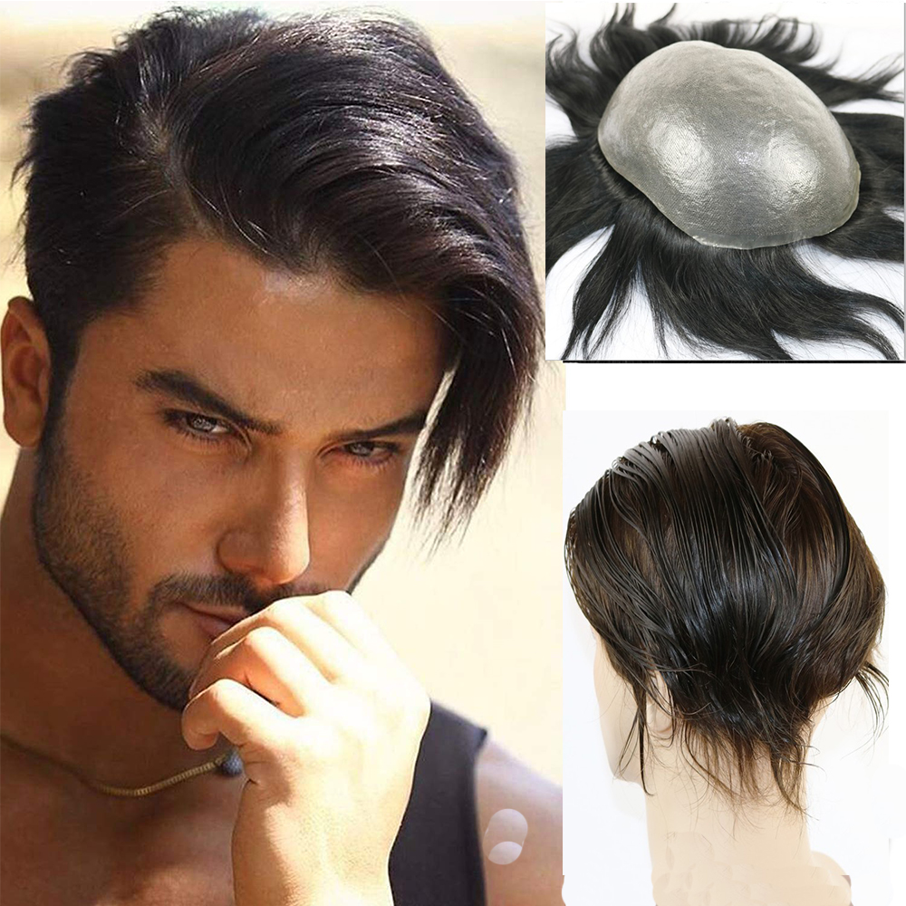 European Remy Human Hair Toupee For Men With Transparent Thin Skin PU 10