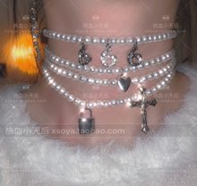 Estilo simples cruz/coração/666/jóias de bloqueio para mulheres pingentes longos colares gótico hip hop presente colar colares mujer