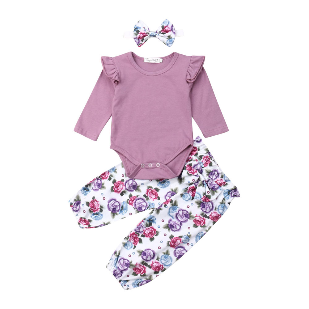 Newborn Baby Girl Clothes Set Long Sleeve T Shirt Tops Pants Bodysuit Outfit