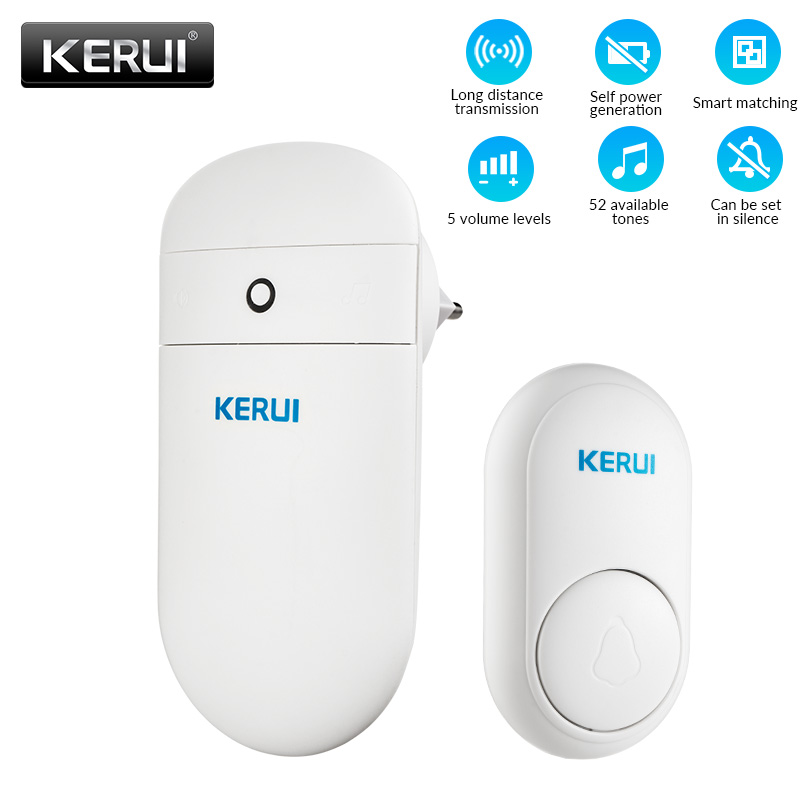 KERUI M518 Wireless Self Generation Button 52 Songs Optional 5 Volume Levels No Need Battery Welcome Self Powered Doorbell