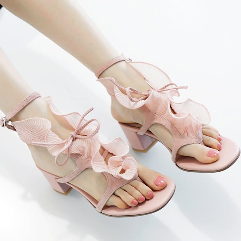 Женская Летняя Открытая клипса Toed сандалии женские модные ботинки с оборками Сладкий Розовый Черный обувь гладиаторы 5 см квадратный толст