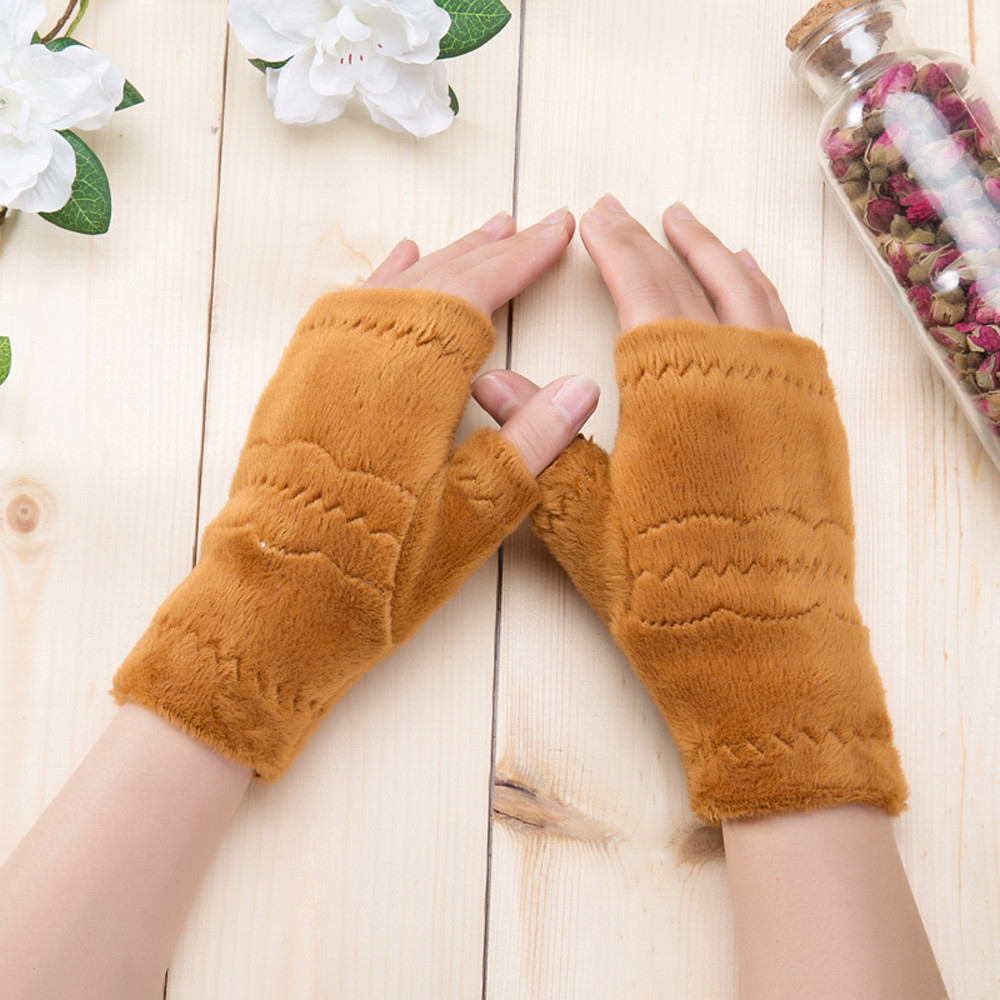Women Fingerless Gloves Thick Warmth Polar Fleece Winter Autumn Thick Warm Gloves Keyboard Leak Finger Gloves Handschoenen 11.19