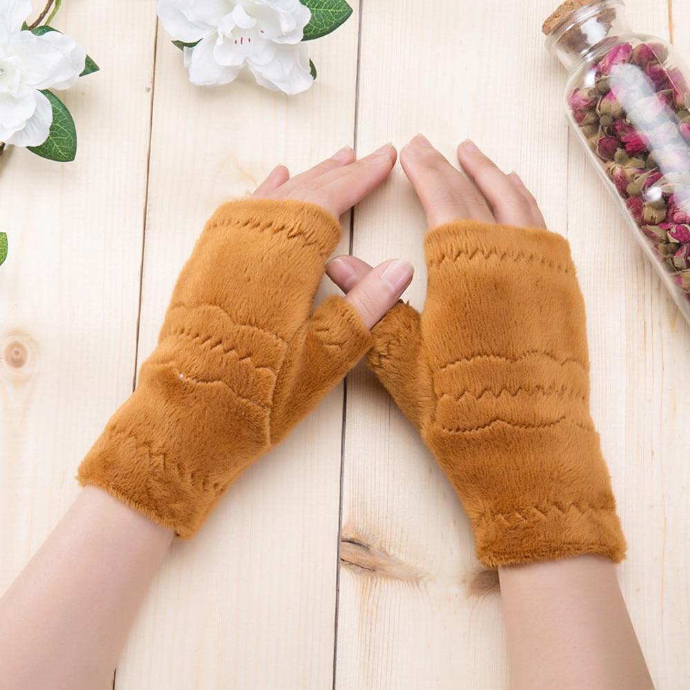 Women Fingerless Gloves Thick Warmth Polar Fleece Winter Autumn Thick Warm Gloves Keyboard Leak Finger Gloves Handschoenen 11.19
