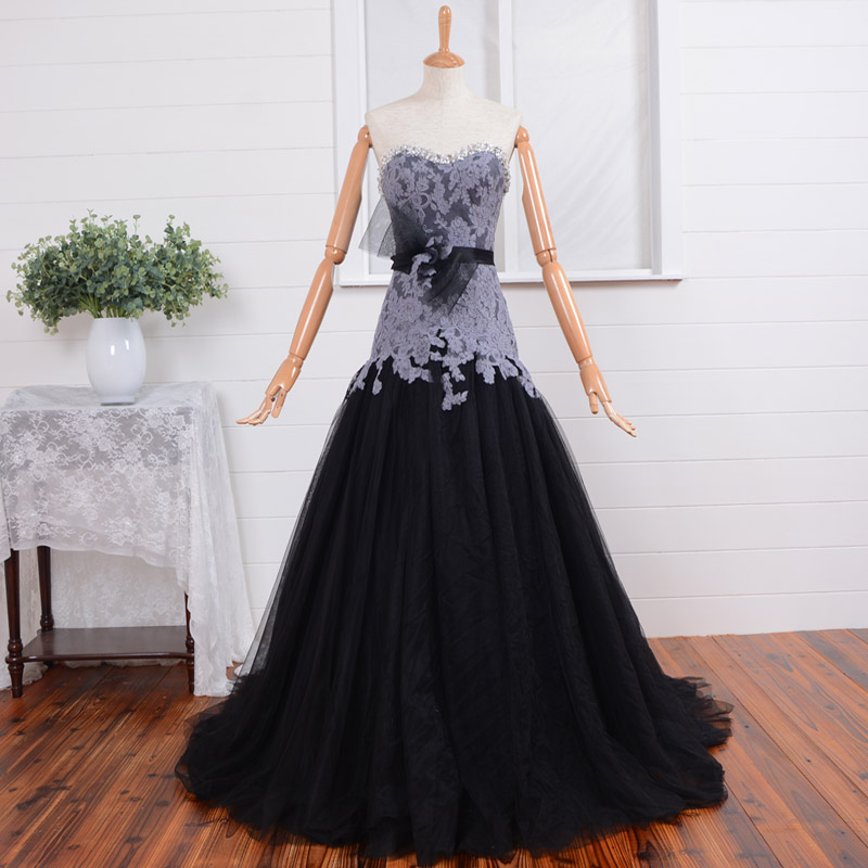 Sexy Sweetheart Gray Lace Long Prom Robe De Soiree A-line 2018 Flower Beading Evening Formal Gown Mother Of The Bride Dresses