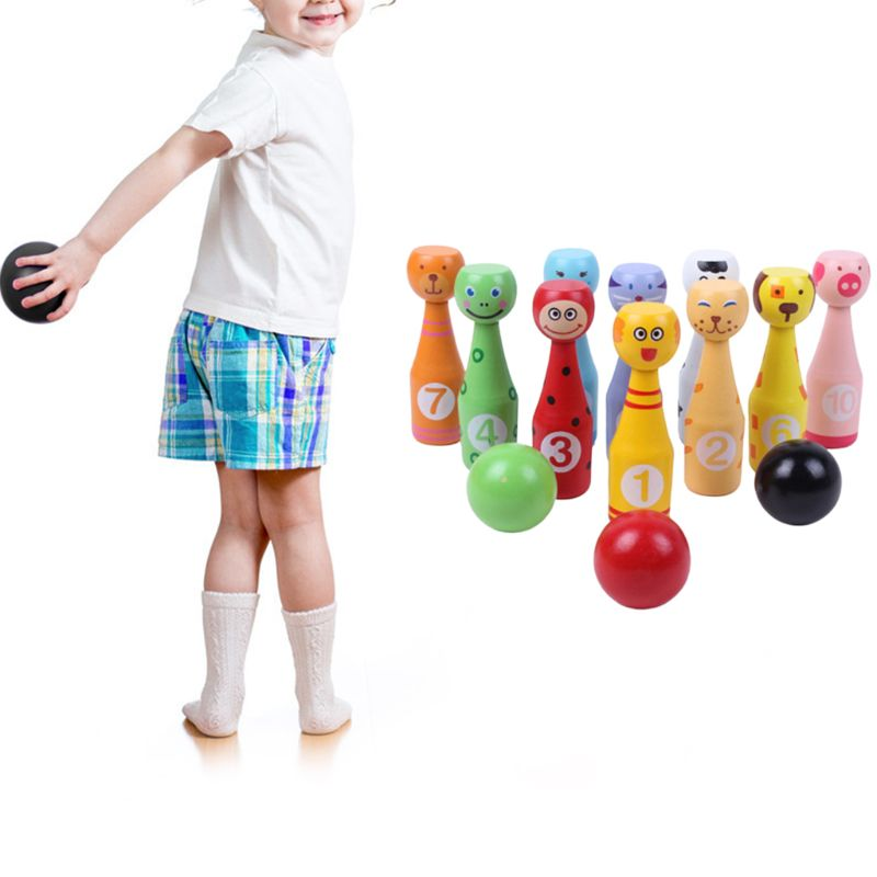 Closeout Deals¸13pcs/set Wooden Bowling Set 10 Pins 3 Ball Animal Bowling Game for Children 24BD▄