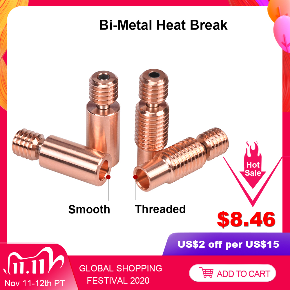 High Quality Bi-Metal Heat Break V6 Throat For E3D V6 PT100 Hotend Prusa i3 MK3 Heater Block 1.75mm