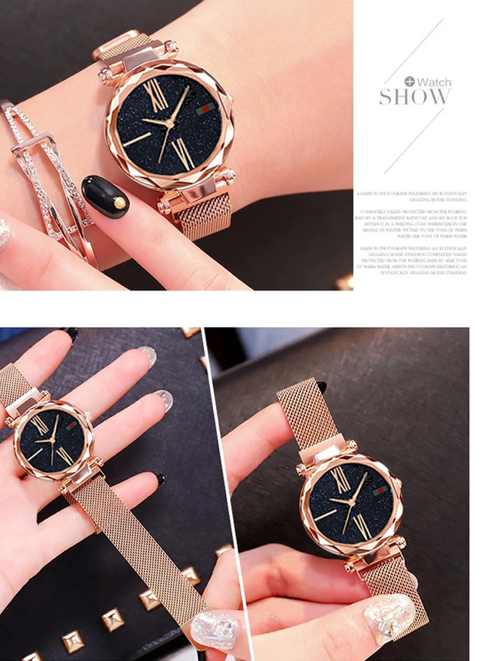 Luxury Minimalism Starry sky Magnet Rose Gold Women Watches 17