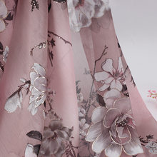 Pink Floral Chiffon Fabric By The Meter, Bronzing Metallic Flower Print Apparel Designer Fabric For Dresses