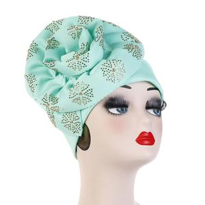 Image 4 - Helisopus Muslim Big 2020s Turban Women Shiny Glitter Oversized 2020 Hijab Bandana Head Cover Beanie Chemo Caps Accessories