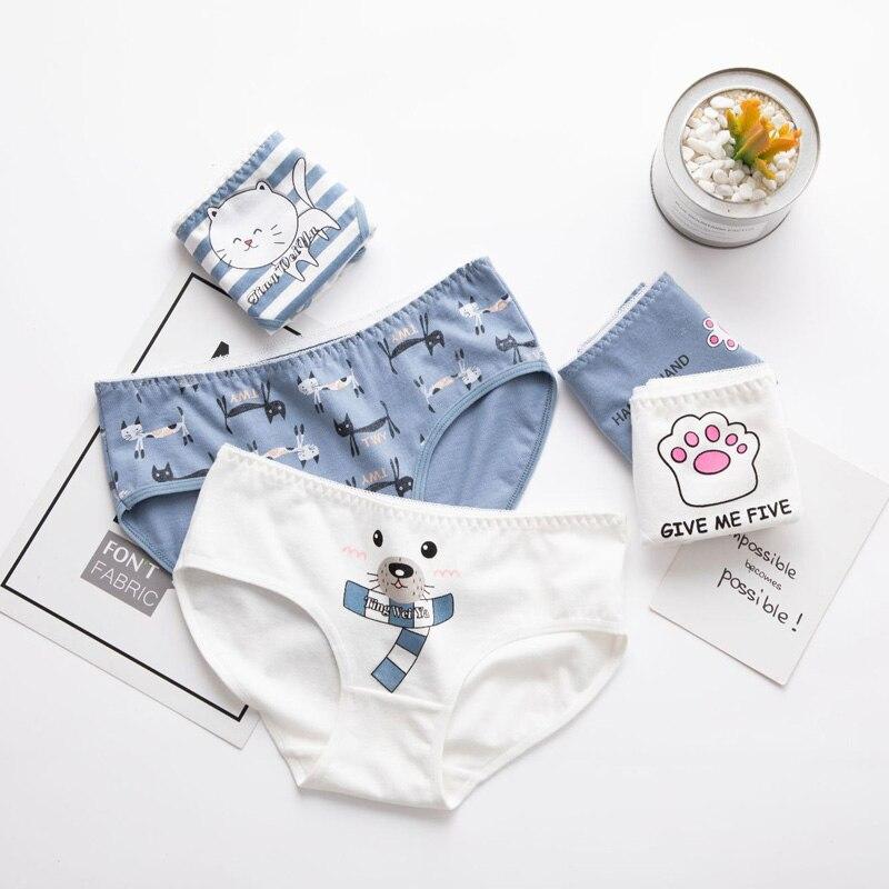 Panties For Women Cat Bear Claw Girls Briefs Cute Lingerie Cotton Cartoon Breathable Ladies Underwear Female Panty
