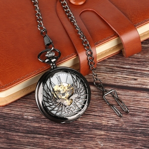 Image 5 - Steampunk Black/Bronze Hollow Phoenix Carving Mechanical Pocket Watch Roman Numerals Display Pin Chain Retro Clock Collectibles