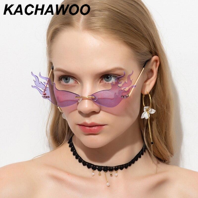Kachawoo vintage güneş gözlüğü kedi gözü kırmızı sarı yeşil çerçevesiz güneş gözlüğü kadınlar için yangın şekli altın parti hediyeler 2020 sıcak satış