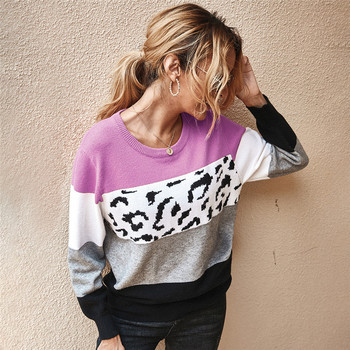 Autumn Winter Women's Sweaters O-Neck Loose Knitted Jumpers Long Sleeves Leopard Splice Sweater Oversize Ladies Pullover Tops недорого