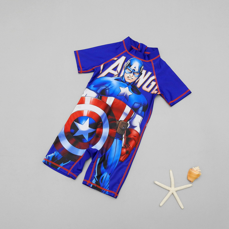 One-piece Swimsuit For Children BOY'S Children Age Of 3-5 America Captain Spider-Man Quick-Dry Warm Baby Swimwear Men's