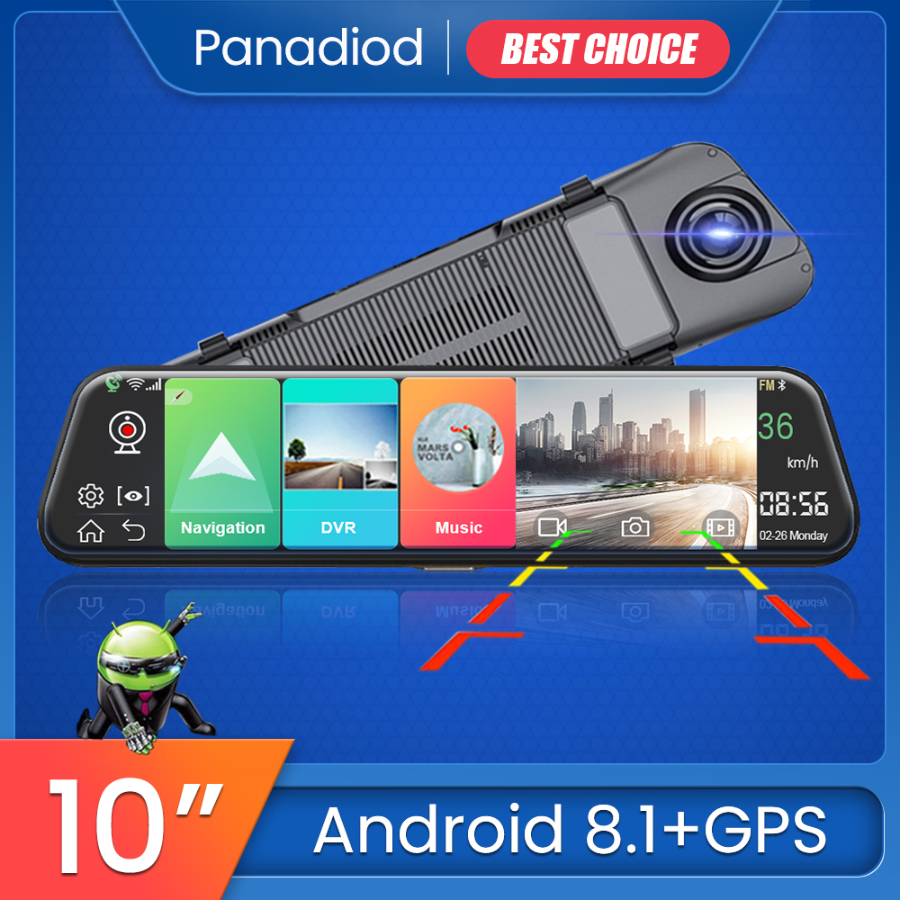 4G 10 Inch Dash Cam Car Android 8.1 Rearview