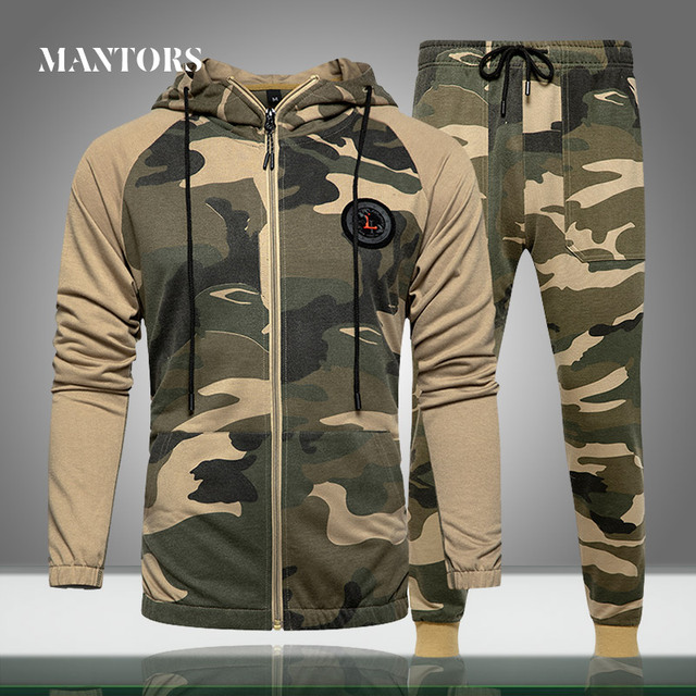 Men Sets Camouflage Casual Tracksuit 2020  1
