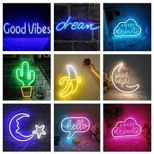 Led néon signe Cood/bonne Vibes rêve ouvert Cactus bonjour banane Flash néon signe pour chambre décor à la maison fête mariage mur décor