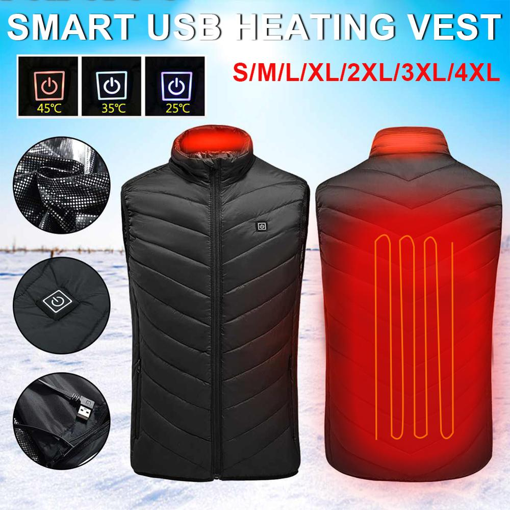 Winter Outdoor Electric Heated Vest Men Heating Waistcoat Thermal Clothing USB Heated Vest Winter Heated Jacket Camping Jacket