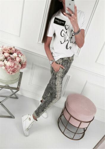 Summer 2020 Women Elastic Waist Long Pants Fashion Casual Loose Snake Pattern Long Trousers Street Wear Clothes