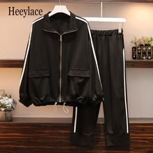 Women sports suit Large Plus Size 5XL tracksuit Coat Jacket+pants two piece set