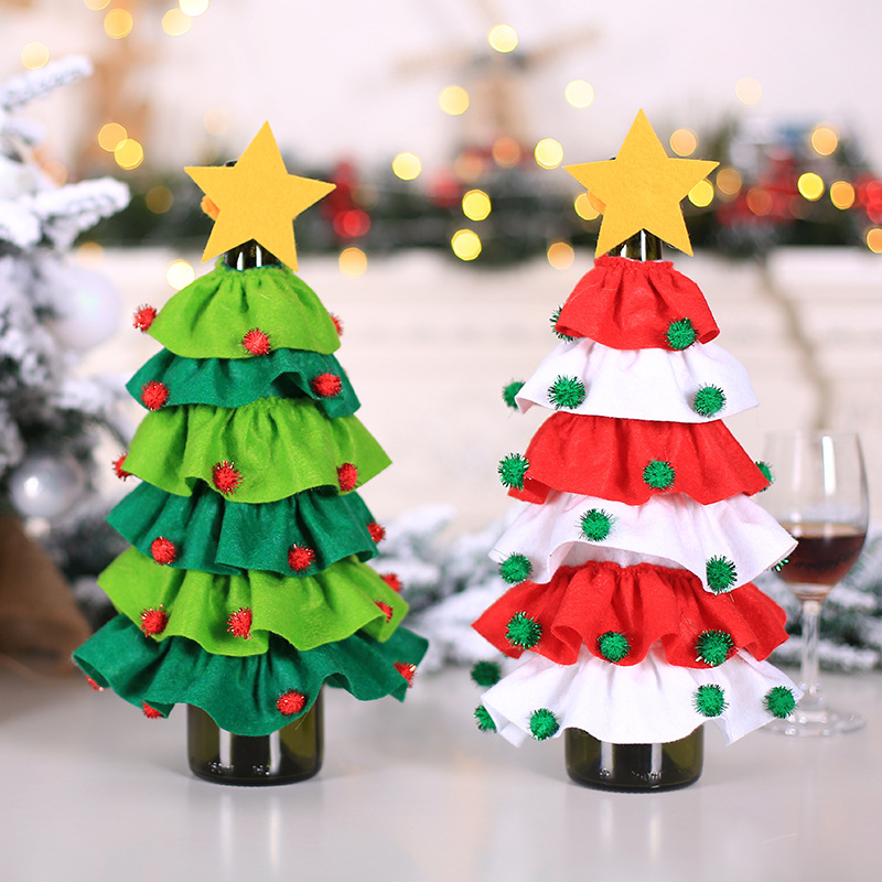Christmas Tree Shaped Wine Bottle Cover Home Hotel Restaurant Destop Decorative Supplies