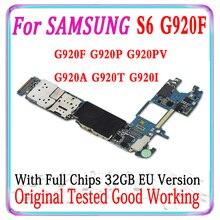 32 Gb Euopre Versie Originele Voor Samsung Galaxy S6 G920F G920P G920V G920A G920T G920I Moederbord Hoofdprintplaat Met chips