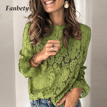 2020 Womens Lace Crochet Flower Blouses shirt Ladies Casual Solid color Long Sleeve Shirts female Spring o neck Hallow Out TopsBlouses & Shirts
