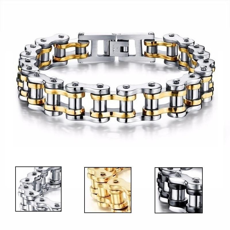 Stainless Steel Biker Chain Bracelet Mens Bracelet Link Chain Motorcycle Bicycle Style Bracelets Fashion Punk Bangles Jewelry