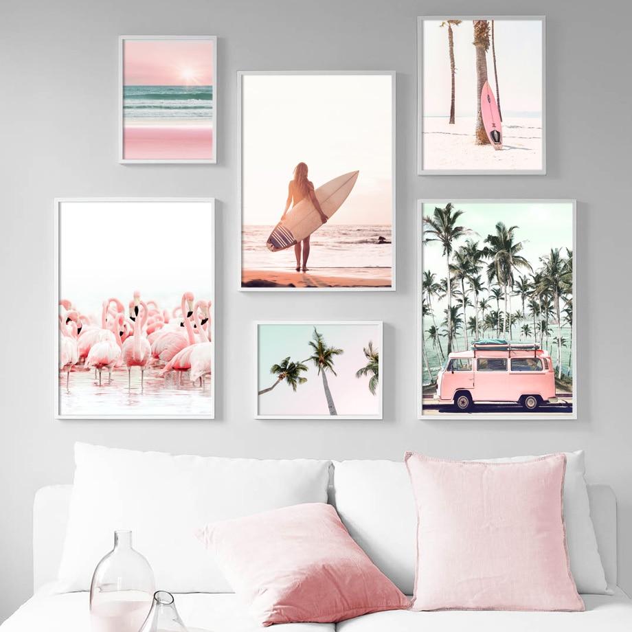 Pembe plaj Flamingo palmiye ağacı Surfboard duvar sanatı tuval yağlıboya İskandinav posterler ve baskılar duvar resimleri için oturma odası dekor