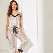 Pink Lace Trim Satin Cami Top And Striped Pants Women Pajama Set Spring Sleeveless Sleepwear Two Piece Set Sexy Nightgowns lace trim cami top