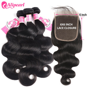 Body Wave Human Hair Bundles With Closure 6x6 Free Part Pre Plucked Brazilian Bundles With Closure Remy Hair Extension AliPearl(China)