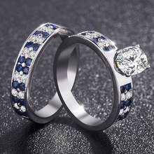 2 pieces/set of new fashionable Chinese elegant style blue stripes inlaid round AAA zircon CZ ring Party Gift couple