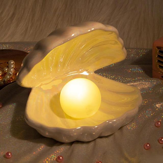 Ceramic Shell Pearl Lamp Bedroom Decor Night Light Streamer Fairy Shell for Girl Home Decoration Bedside Lamp Girl Gift