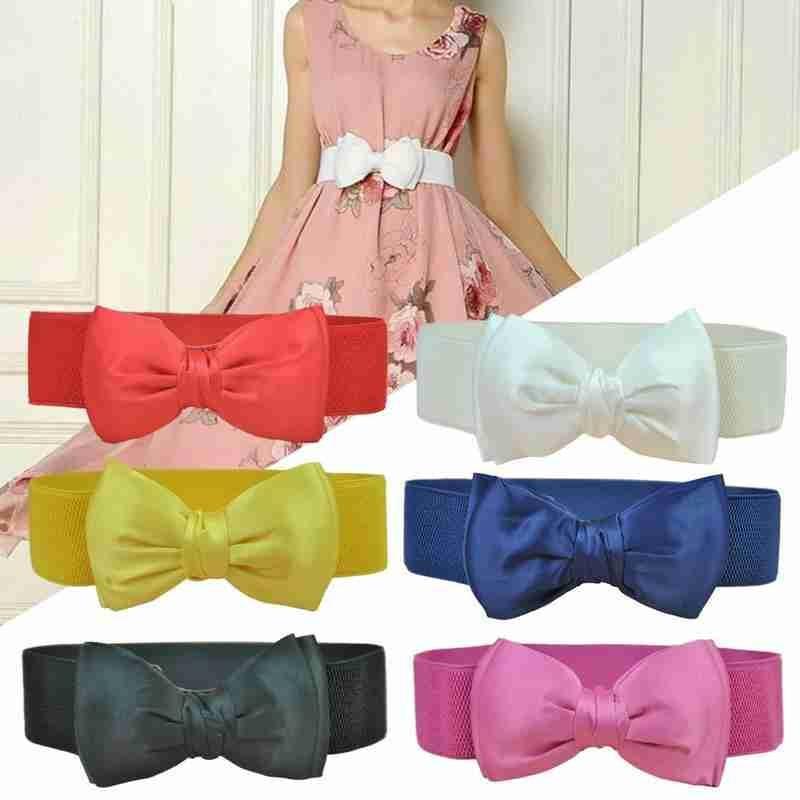 New Cute Bowknot 6cm Wide Waist Belt Fashion Adjustable Nylon Solid Color Waist Belts Women Party Accessories Ladies Waist Belt