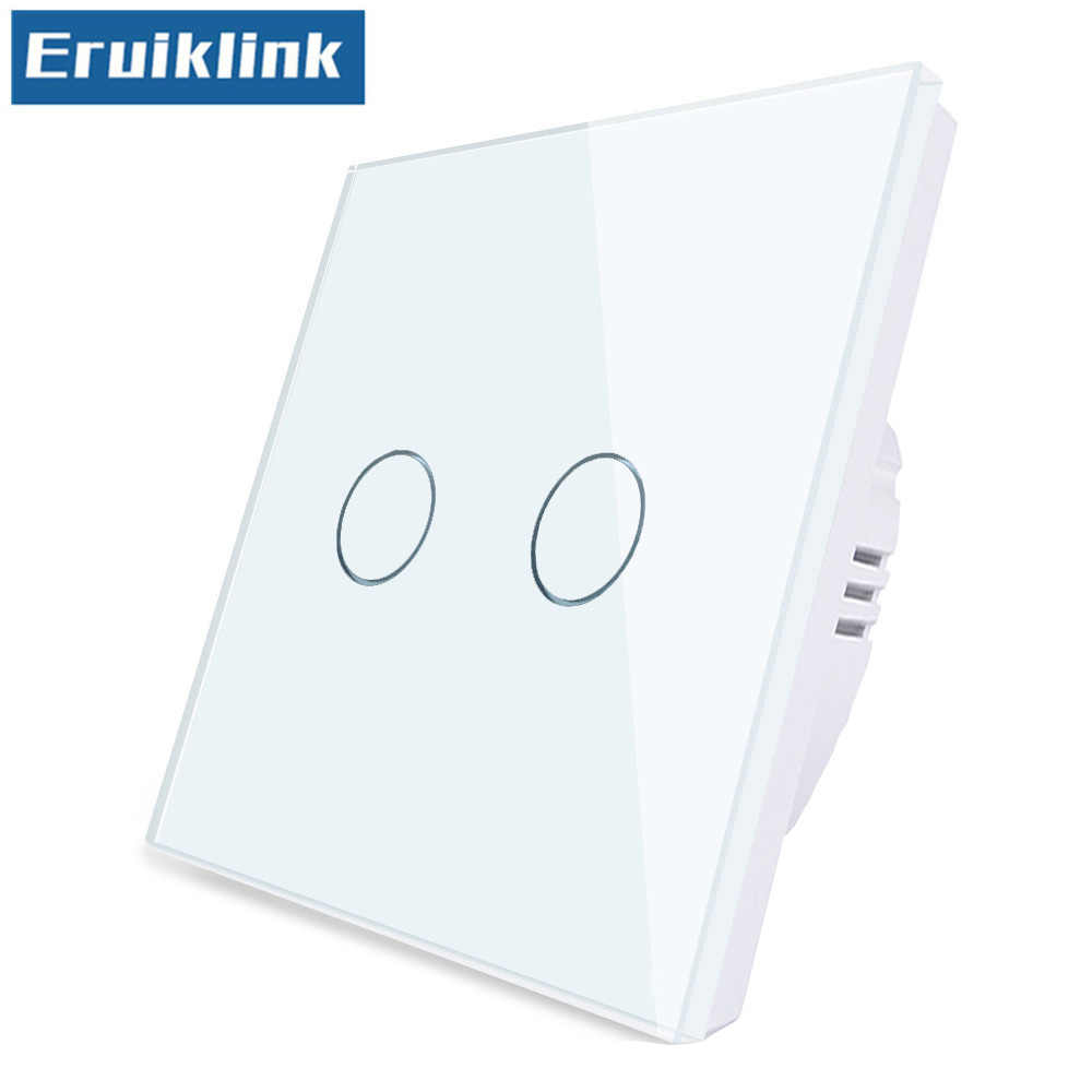 EU/UK Standard Wall Light Switch,1/2/3 Gang 1 Way Crystal Glass Panel 220V Touch Switch Can't be remote controlled