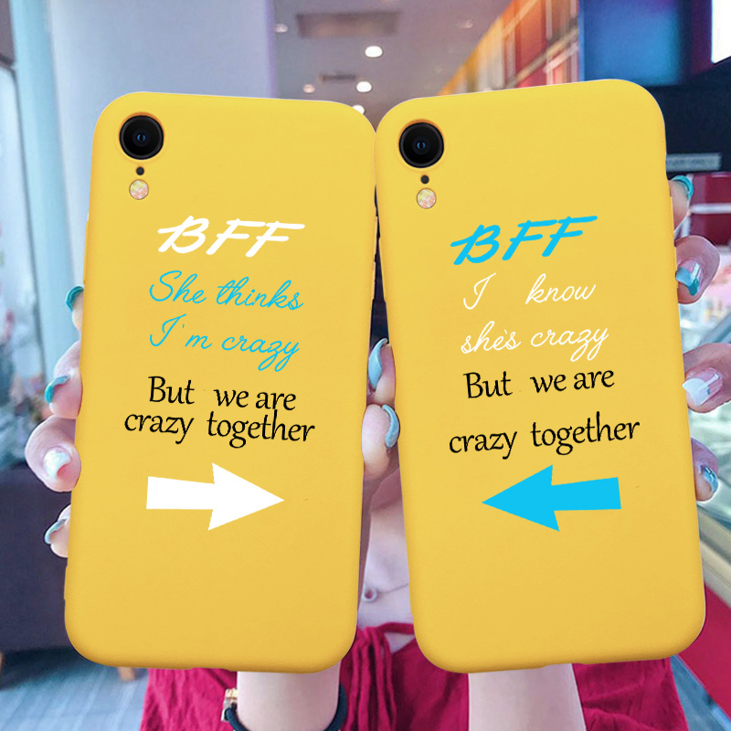 <font><b>BFF</b></font> Yellow Phone <font><b>Case</b></font> Coque For <font><b>iPhone</b></font> 11 Pro XR 7 8 6 6S Plus 5 X XS MAX 5 5S Cartoon Romantic Phone Cover For <font><b>iPhone</b></font> 8 7 Plus image