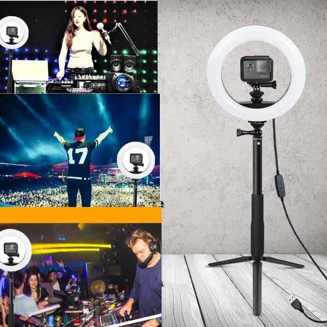 Anordsem New Design Accessories for Gopro Fill Light Led Ring Light Lamp+Monopod Tripod for Gopro Hero 8 7 6 5 for YI DIJ EKEN