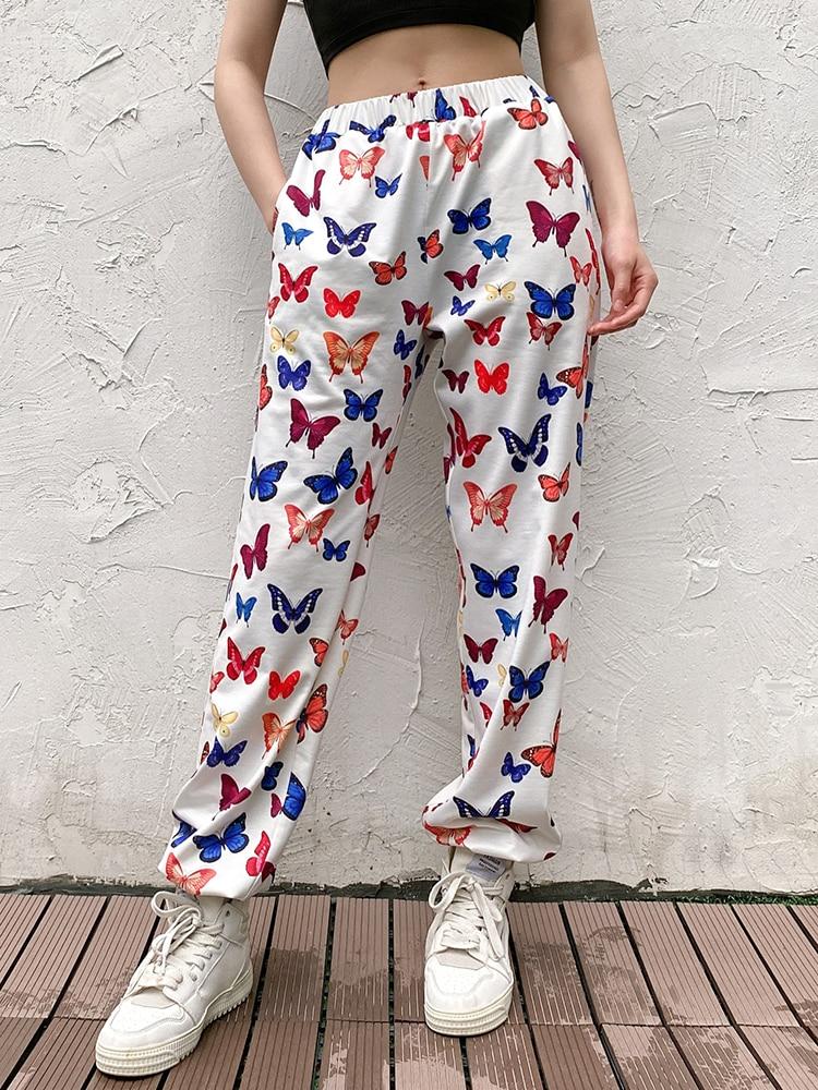 SEASONS Butterfly Printed Sweatpants Women Pencil Streetwear Pants Casual Elastic High Waist Length Hip Hop Pants ASPA80599